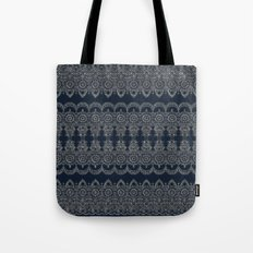 Silvery Striped Doodle Tote Bag