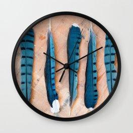Blue jay feathers Wall Clock