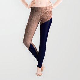 Minimalist rose gold navy blue color block geometric Leggings