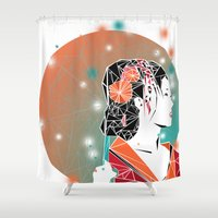 geisha Shower Curtains featuring GEISHA by ARCHIGRAF