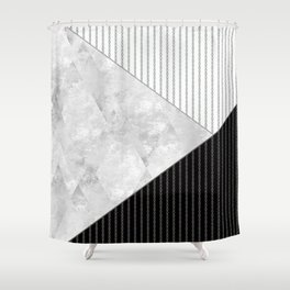 Valencia 1  Abstract black and white geometric pattern. Shower Curtain