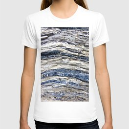 Gray Beige Blue Jagged Rock Stripes T-shirt