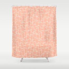 Mid Century Blush Geometric Pattern Shower Curtain