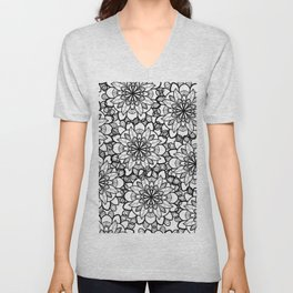 Hand drawn black white floral illustration Unisex V-Neck