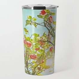 Pink Camellia japonica Blossoms and Sun in Blue Sky Travel Mug