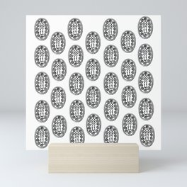 Ancient Egyptian Amulet Pattern Black & White Mini Art Print