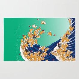 Christmas Shiba Inu The Great Wave Rug