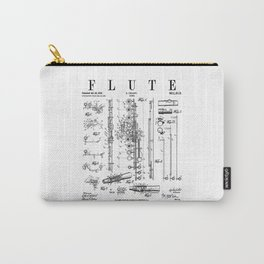 Flute Vintage Patent Flutist Flautist Drawing Print Carry-All Pouch