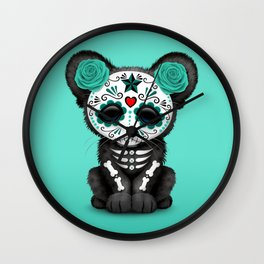 Teal Blue Day of the Dead Sugar Skull Panther Cub Wall Clock
