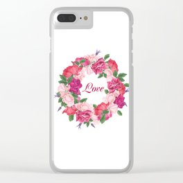 Floral wreath with rose and leaves Clear iPhone Case