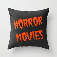 movies Throw Pillows featuring Horror Movies by NoHo