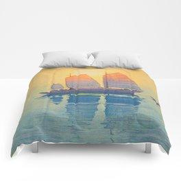 Sailing Boats, Morning Hiroshi Yoshida Modern Japanese Woodblock Print Comforters