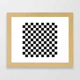 Race Flag Black and White Checkerboard Framed Art Print