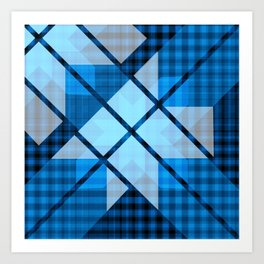 Abstract Geometric Blue Plaid Design Art Print