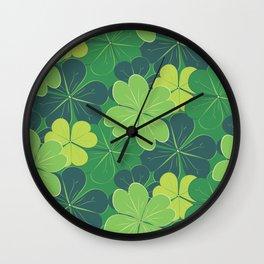 Decorative green shamrock leaves Wall Clock