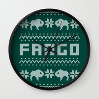 sweater Wall Clocks featuring Fargo Sweater by Mandrie