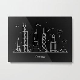 Chicago Minimal Skyline Drawing Metal Print