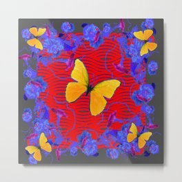 Red & Blue Yellow Butterflies Abstract Metal Print