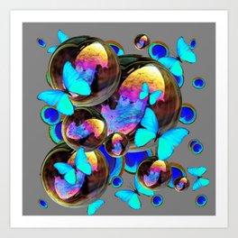 BLUE & GOLD  BUBBLES BLUE BUTTERFLIES PEACOCK EYES Art Print