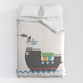 A cute cargo ship on water. Comforters