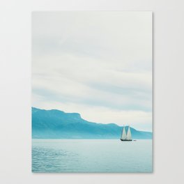 Modern Minimalist Landscape Ocean Pastel Blue Mountains With White Sail Boat Canvas Print