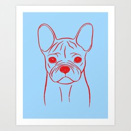 French Bulldog (Blue and Red) Art Print