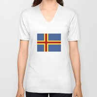finland V-neck T-shirts featuring aaland country flag finland by tony tudor