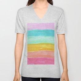 spring rainbow stripes Unisex V-Neck