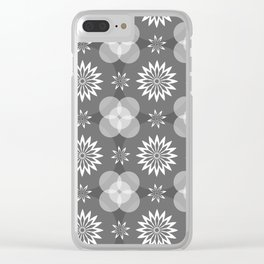 Grey Circles and Flowers Pattern Clear iPhone Case
