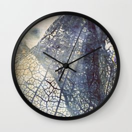 Aged Floral Skeleton Cyanatope Print Wall Clock