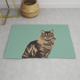 The Long-Haired Tabby Cat Rug