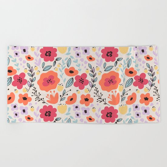 Fantasy Flowers Beach Towel