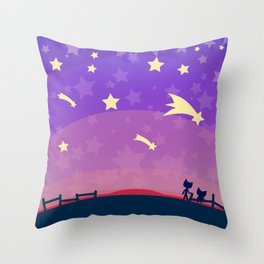 Starry sunset seen by cats Throw Pillow
