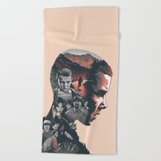 Stranger Things Collage Artwork With Eleven And the Main Cast Beach Towel