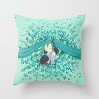 vocaloid Throw Pillows featuring MikuMiku by gohe1090