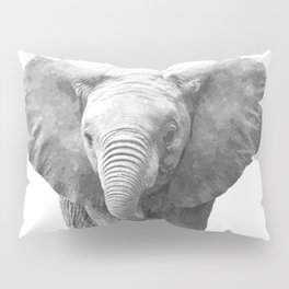 Black and White Baby Elephant Pillow Sham