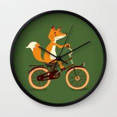Little fox on the bike Wall Clock