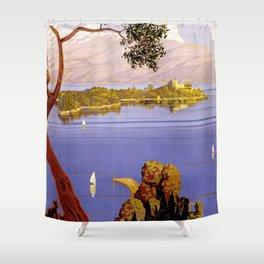 Lake Garda - Italy Vintage Travel Poster 1920 Shower Curtain