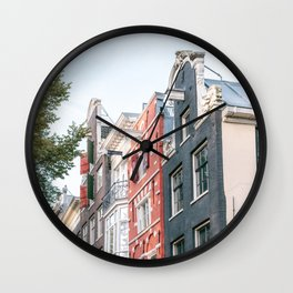 Colorful buildings of Amsterdam, the Netherlands || Travel photography Cityscape Architecture Wall Clock