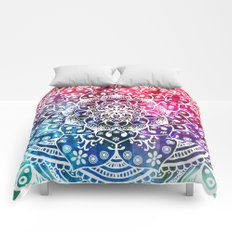 Namaste Red Purple Blue Mandala Comforters