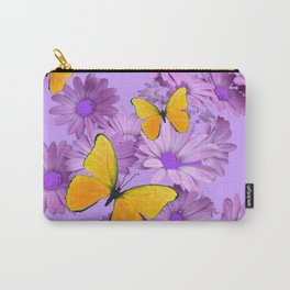 Yellow Butterflies Pinkish Lilac Color Purple Daisy Flowers Carry-All Pouch