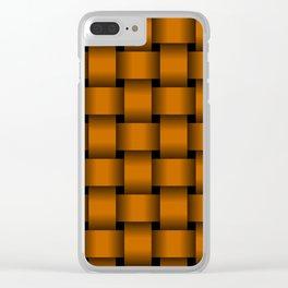 Large Dark Orange Weave Clear iPhone Case