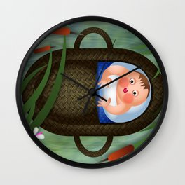 Baby Moses on the River Nile Wall Clock