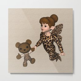 Little Girl Fairy Baby Bear Metal Print