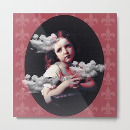 Lovely girl and clouds Metal Print