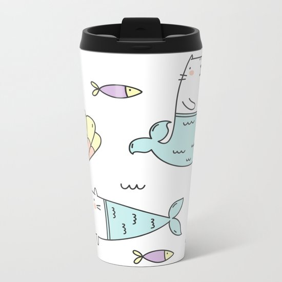 Ocean Merkitties Metal Travel Mug