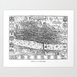 Vintage Map of London England (1593) Art Print