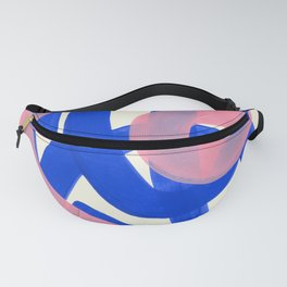 Tribal Pink Blue Fun Colorful Mid Century Modern Abstract Painting Shapes Pattern Fanny Pack