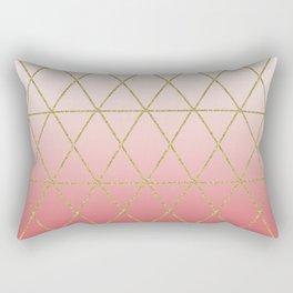Rose Gold Geometric Rectangular Pillow
