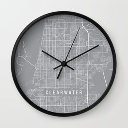 Clearwater Map, Florida USA - Pewter Wall Clock